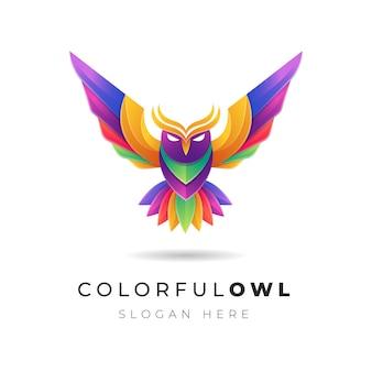 Ilustración del logotipo del pájaro colorido búho abstracto degradado