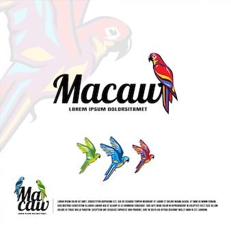 Ilustración de logotipo de pájaro guacamayo