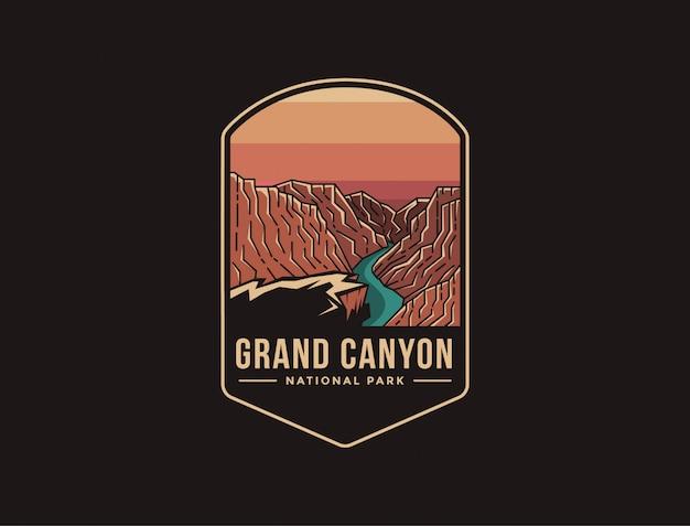 Ilustración del logotipo del parche del emblema del parque nacional del gran cañón