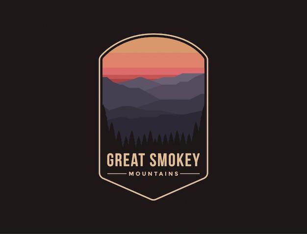 Ilustración del logotipo del parche del emblema del parque nacional great smokey mountains