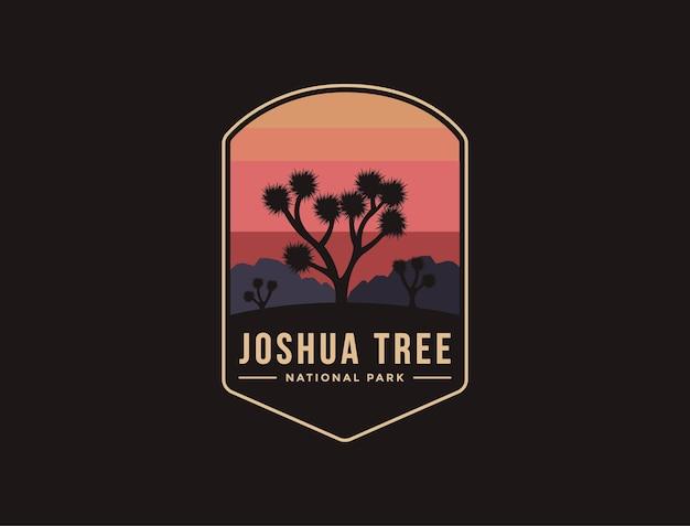 Ilustración del logotipo del parche del emblema del parque nacional joshua tree