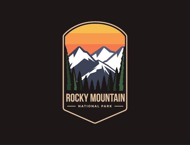 Ilustración del logotipo del parche del emblema del parque nacional de las montañas rocosas