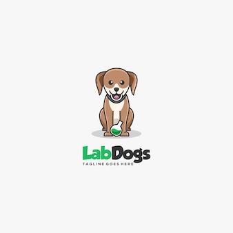 Ilustración logotipo con perros laboratorio dibujos animados