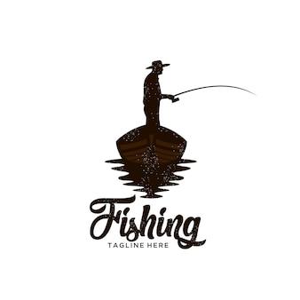 Ilustración de logotipo de pesca de barco clásico