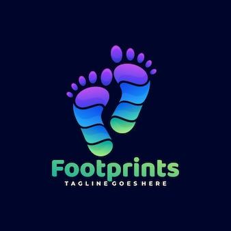 Ilustración de logotipo pie imprime estilo colorido degradado.