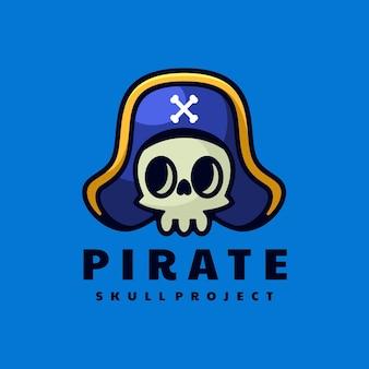 Ilustración de logotipo pirata estilo mascota simple.