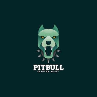 Ilustración de logotipo pit bull estilo colorido degradado.