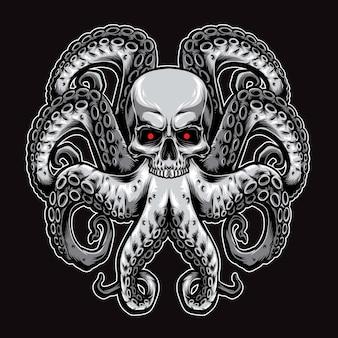 Ilustración de logotipo de pulpo de cráneo
