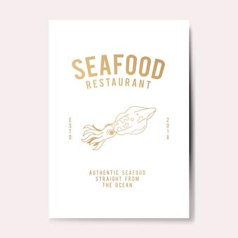 Ilustración de logotipo de restaurante de mariscos