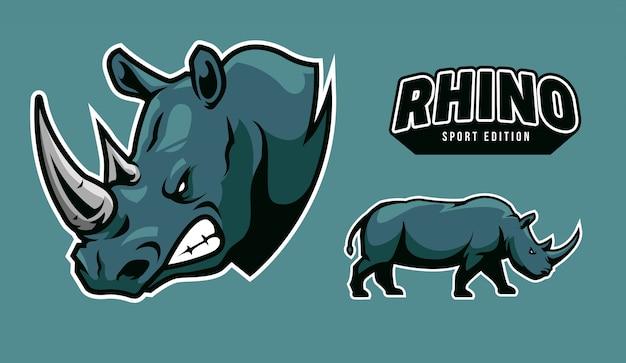 Ilustración de logotipo de rinoceronte