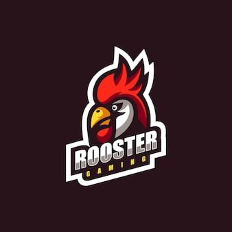 Ilustración de logotipo rooster e-sport y estilo deportivo.