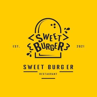 Ilustración de logotipo de sándwich de hamburguesa vintage para restaurante o cafetería