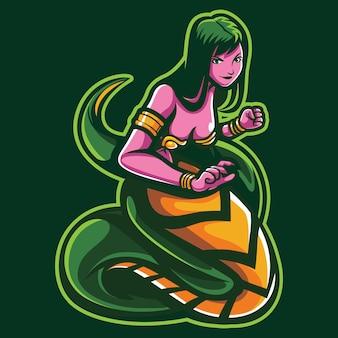 Ilustración del logotipo de snake girl esport