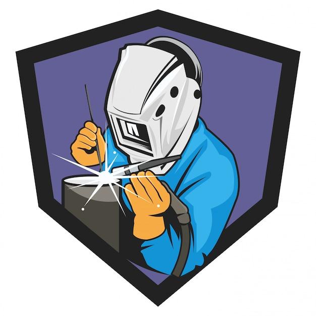 Ilustración de logotipo soldador sobre fondo blanco