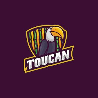Ilustración logotipo tucán estilo mascota simple