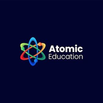 Ilustración de logotipo vectorial atom gradient colorful style.