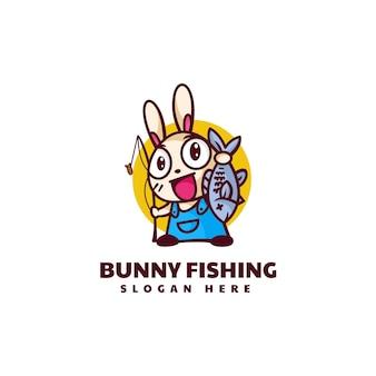 Ilustración logotipo vectorial con conejito pesca mascota estilo dibujos