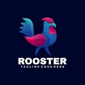 Ilustración de logotipo vectorial estilo colorido degradado de gallo.