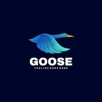 Ilustración de logotipo vectorial estilo colorido degradado de ganso.