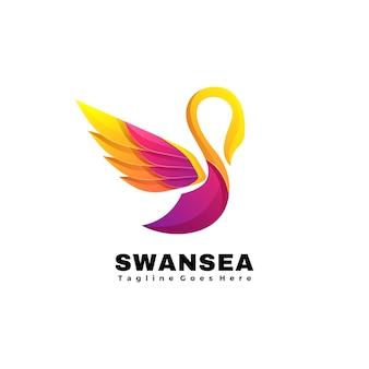 Ilustración logotipo vectorial estilo colorido degradado mar cisne