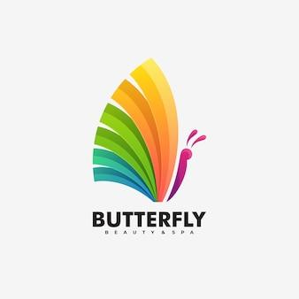 Ilustración de logotipo vectorial estilo colorido degradado de mariposa.