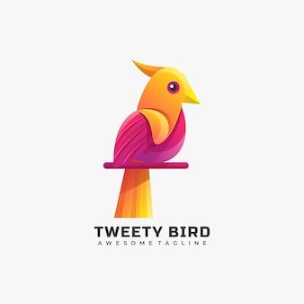 Ilustración de logotipo vectorial estilo colorido degradado de pájaro.