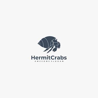Ilustración de logotipo vectorial estilo de silueta de cangrejos ermitaños.
