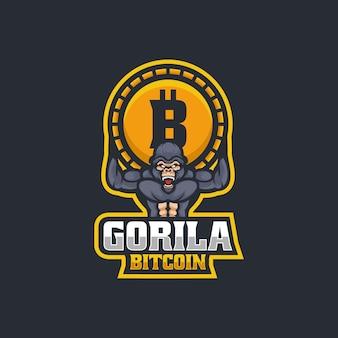 Ilustración de logotipo vectorial gorilla bitcoin e deporte y estilo deportivo