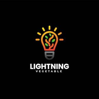 Ilustración logotipo vectorial lámpara naturaleza con línea degradada estilo arte