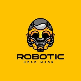 Ilustración logotipo vectorial máscara robótica estilo mascota simple