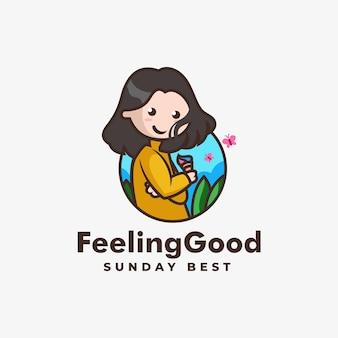 Ilustración logotipo vectorial mascota chica hermosa estilo dibujos animados