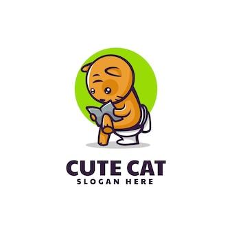 Ilustración logotipo vectorial mascota gato lindo estilo dibujos animados