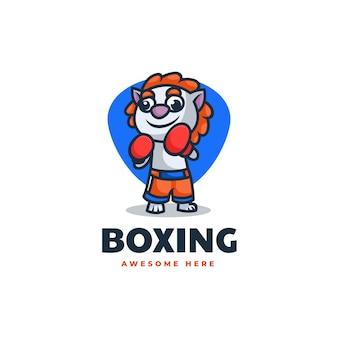 Ilustración logotipo vectorial mascota león boxeo estilo dibujos animados