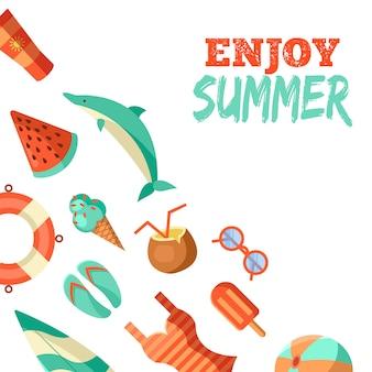 Ilustración de logotipo de verano. horario de verano, disfruta de tus vacaciones.