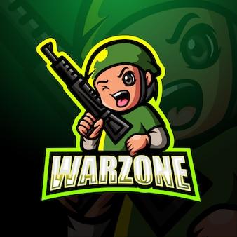 Ilustración de logotipo de warzone mascota esport