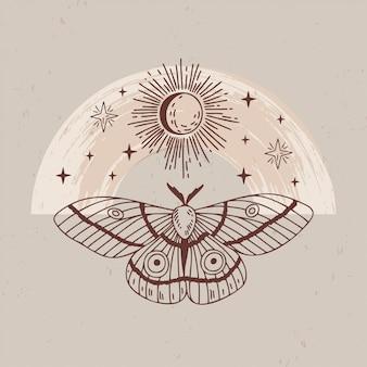 Ilustración de logotipos místicos y esotéricos en un estilo lineal minimalista de moda. emblemas en estilo boho: polilla, luna, sol y estrellas.