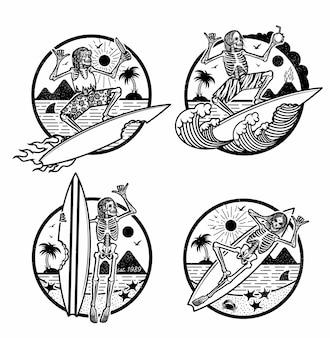 Ilustración de logotipos con surfistas esqueléticos.