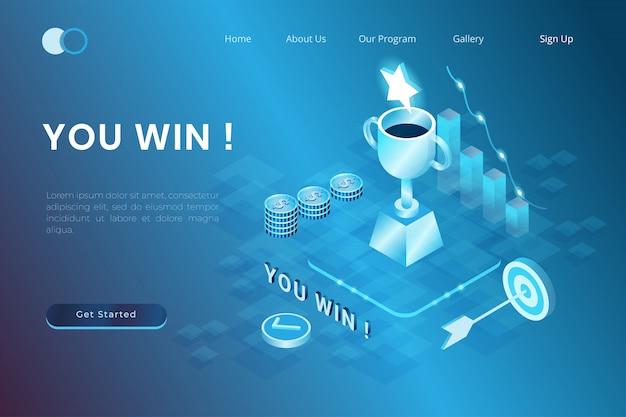 Ilustración del logro de campeones, liderazgo, premios en estilo isométrico 3d
