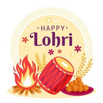Ilustración de lohri dibujado a mano