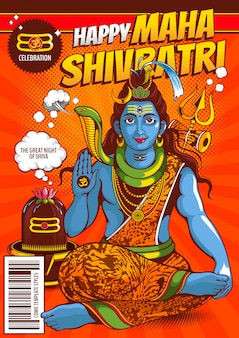 Ilustración de lord shiva de la india para el tradicional festival hindú