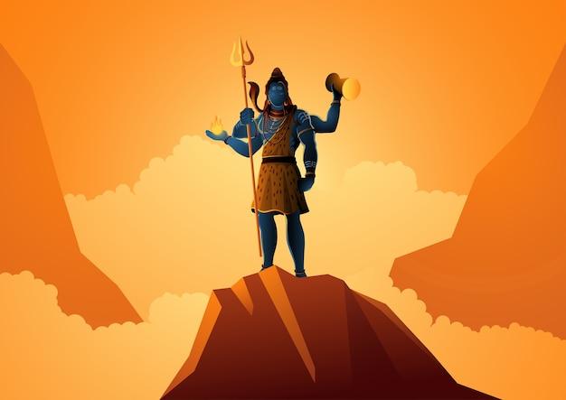 Ilustración de lord shiva de pie en la montaña, dios hindú de la india
