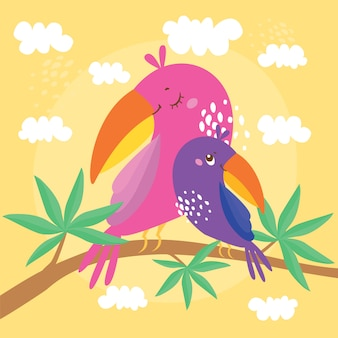 Ilustración con loros, mamá y bebé están sentados en una rama de un árbol exótico