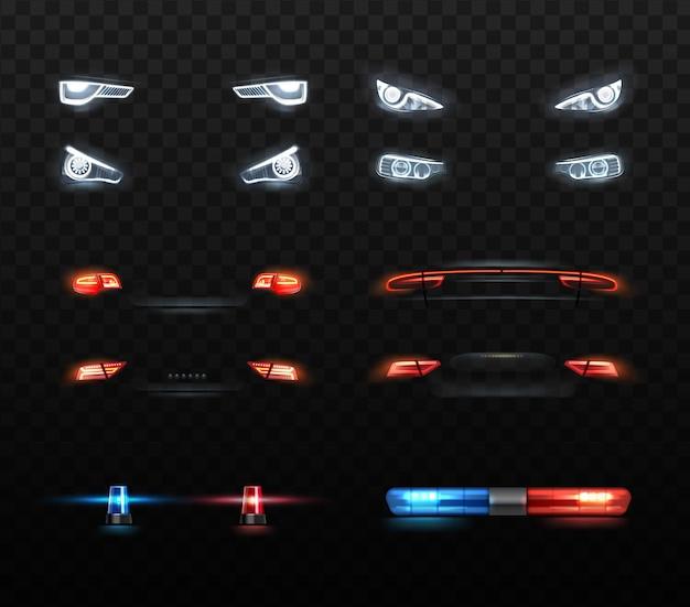 Ilustración de luces de coche conjunto de faros y composiciones realistas.