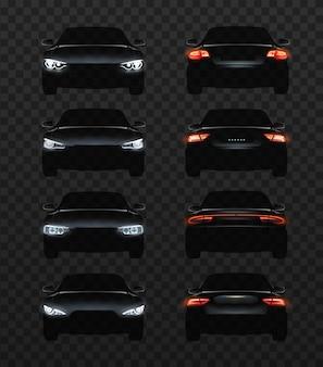 Ilustración de luces de coche conjunto de faros realistas