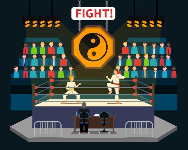 Ilustración de lucha de artes marciales