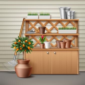 Ilustración de lugar con armario y estante para herramientas de jardinería.