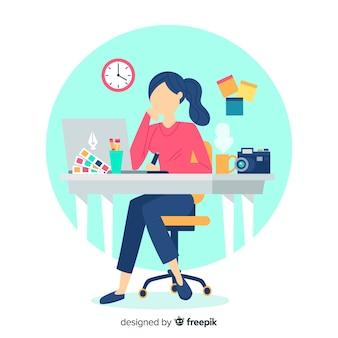 Ilustración lugar de trabajo diseño gráfico