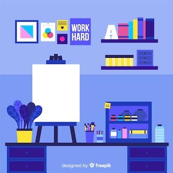 Ilustración lugar de trabajo estudio de arte plana