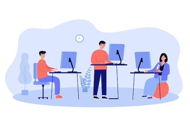 Ilustración de lugares de trabajo ergonómicos