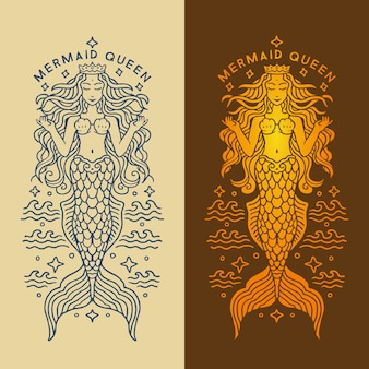 Ilustración de lujo brillante reina de sirena de monoline